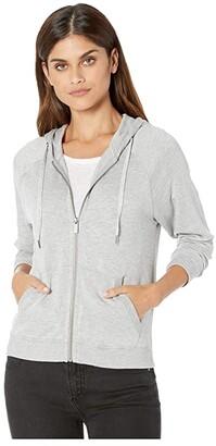 Splendid Super Soft French Terry Zip Hoodie (Heather Grey) Women's Clothing