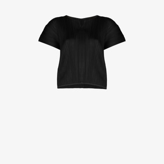 Pleats Please Issey Miyake Notched High Neck Plisse Top