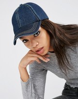 Asos Denim Baseball Cap With Top Stitching