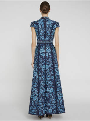Alice + Olivia NIDIA MOCK NECK EMBROIDERED GOWN