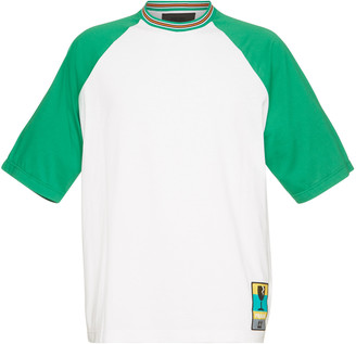 Prada White And Green Cotton Printed T-shirt