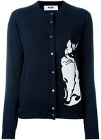 MSGM cat intarsia cardigan - women - Cotton/Virgin Wool - M