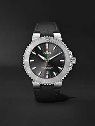 Oris Aquis Date Relief Automatic 43.5mm Stainless Steel And Leather Watch, Ref. No. 01 733 7730 4153-07 5 24 11eb