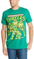 Nickelodeon Teenage Mutant Ninja Turtles Men's Vintage Group Shot T-Shirt, Kelly Heather, Large