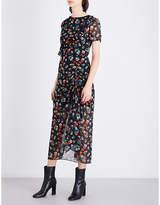 Maje Floral-print ruffled chiffon dress
