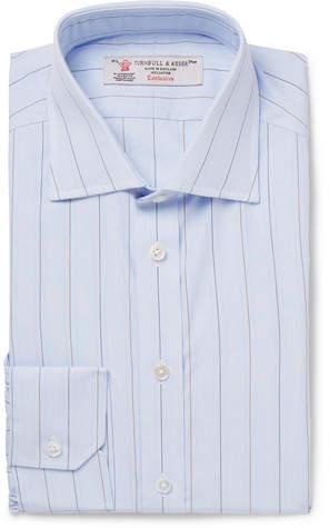 Turnbull & Asser Light-Blue Slim-Fit Cutaway-Collar Striped Cotton-Poplin Shirt