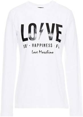 Love Moschino Printed Stretch-cotton Jersey Top