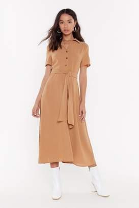 Nasty Gal Womens Hit The Calm Button-Down Tie Midi Dress - Brown - 6, Brown