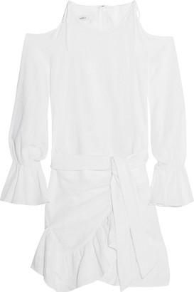 GOEN.J Cold-shoulder Wrap-effect Cotton Mini Dress