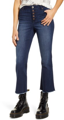 1822 Denim Button Front High Waist Crop Flare Jeans