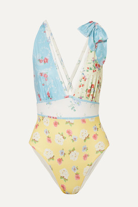 LoveShackFancy Millicent Bow-embellished Patchwork Swimsuit - Pastel yellow