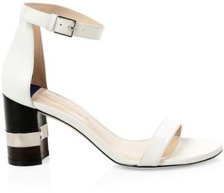 Stuart Weitzman Saturn Leather Block Heel Sandals