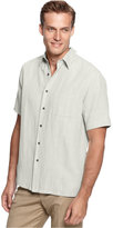 Tasso Elba Men's Silk-Blend Crosshatch Short-Sleeve Shirt