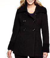 JCPenney Worthington® Knit Trim Babydoll Wool Coat-Plus