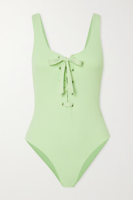 Ganni Net Sustain Lace-up Ribbed Swimsuit - Light blue