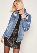 Missguided Blue Ripped Denim Jacket