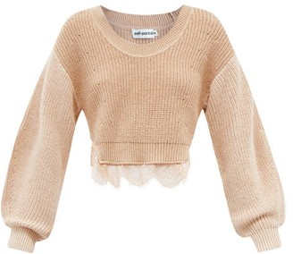 Self-Portrait Cropped Lace-trimmed Cotton-blend Sweater - Camel