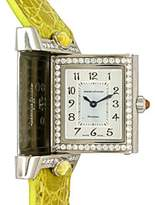 "Jaeger-LeCoultre Diamond ""Reverso Cabochon"" 18K White Gold Womens Watch"
