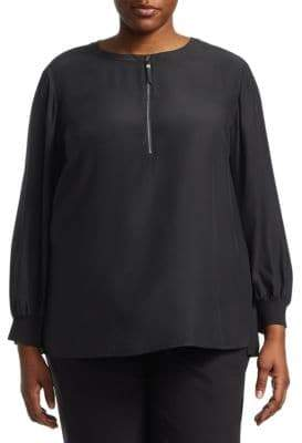 Lafayette 148 New York Lafayette 148 New York, Plus Size Fantasia Silk Exposed Zip Blouse