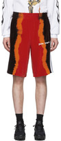 Palm Angels Black and Red Chenille Tie-Dye Shorts
