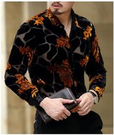 herina store Herina, Men's Shirt Slim Fit Dress Shirt For Man Long Sleeve, Velvet & See through. (M, )