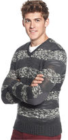 Kenneth Cole Reaction Sweater, Long Sleeve V Neck Marled Stripe Sweater