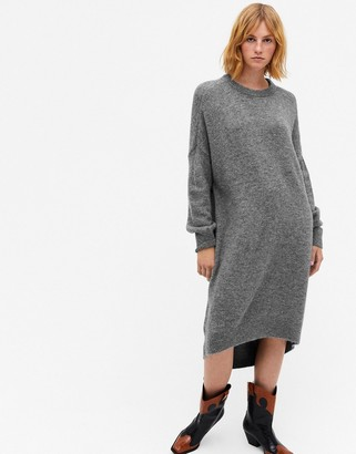 Monki Meeko cocoon knitted jumper dress in grey