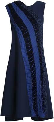 Koché Shirred Velvet And Georgette-trimmed Crepe Dress