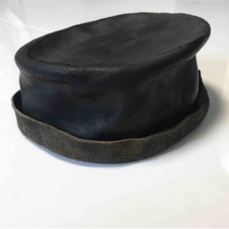Ann Demeulemeester Black Leather Hats & pull on hats