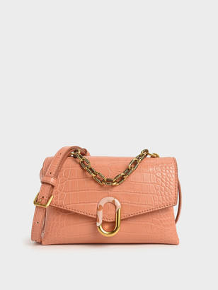 Charles & Keith Croc-Effect Chunky Chain Strap Trapeze Bag