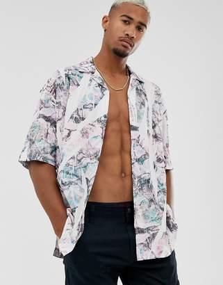 Asos Design DESIGN regular shirt in crumpled print-Purple
