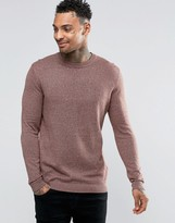 Asos Crew Neck Jumper In Pink Twist Cotton