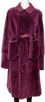 Giorgio Armani Burgundy Shearling Belted Coat M