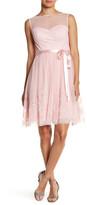 Eliza J Sleeveless Illusion Neckline Dress
