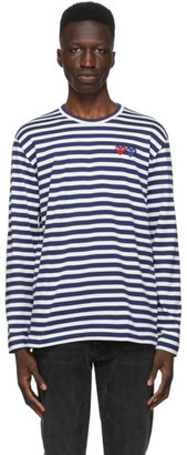 Comme des Garcons Navy and White Striped Double Heart Long Sleeve T-Shirt