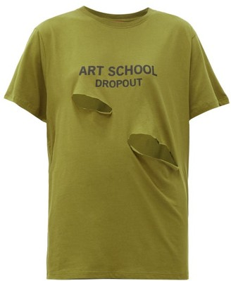 Art School Dropout Cutout Cotton-jersey T-shirt - Khaki