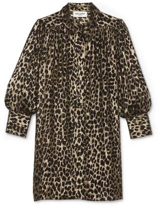 Saint Laurent Leopard Print Shirt Dress