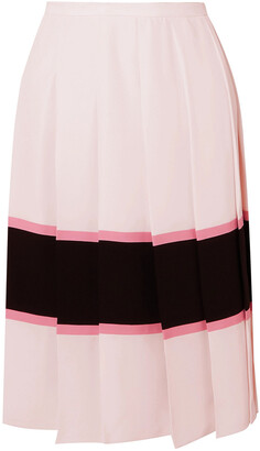 Marni Pleated Striped Crepe De Chine Skirt