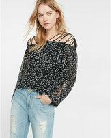 Express floral lace-up shoulder blouse