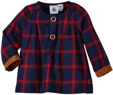 Petit Bateau Checkered Top with Cuff (Baby) - Navy/Red-3 Months