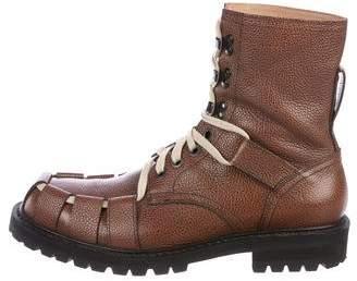 Dries Van Noten Leather Combat Boots