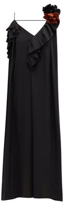 Victoria Beckham Corsage-brooch Ruffled One-shoulder Silk Dress - Womens - Black
