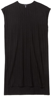 Eileen Fisher Petite V-Neck High-Low Dress (Black) Women's Dress