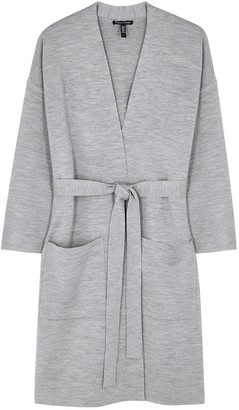 Eileen Fisher Light Grey Merino Wool-blend Cardigan
