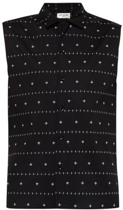 Saint Laurent Orchid-print Sleeveless Cotton-poplin Shirt - Mens - Black Cream