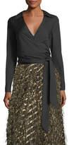 Milly Lia Cotton-Stretch Poplin Wrap Top