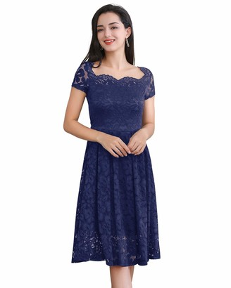 Molly Moda Women Sweetheart Neck Backless Lace 2 in 1 Tulle Midi Bridesmaid Cocktail Party Day Occasion Skater Prom Dress S UK 12 Navy Blue