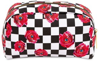 Seletti Roses On Check Printed Beauty Case