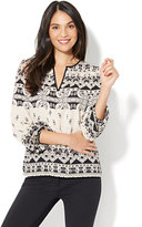 New York & Co. Split-Neck Peasant Blouse - Petite