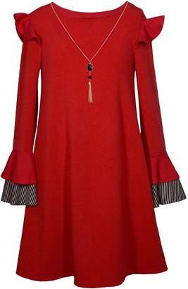 Bonnie Jean Girl's 7-16 Knit Sweater Shoulder Flutter Ruffle Dress